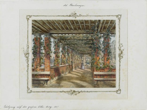 Abb. 6 Adolf Charlemagne (1826–1901) »Laubgang auf der grossen Villa Berg«, 1857 »Olga-Album«, Blatt 53; Staatsgalerie Stuttgart (Leihgabe der Freunde der Staatsgalerie)